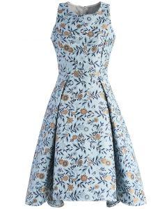Florets Splendor Jacquard Waterfall Dress in Blue