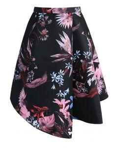 Snazzy Flowers Asymmetric Printed Skirt