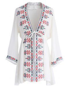 Refreshingly Boho Tribe Embroidered Tunic