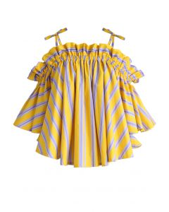 Jaunty Stripe Cold-shoulder Top in Yellow