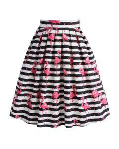 Enraptured Flamingo Stripe Pleated A-line Skirt