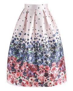Enamored Rosebud Printed Midi Skirt in Pink