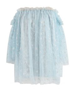Stars Shining Out Mesh Off-Shoulder Tunic in Light Blue