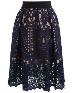 Profound Baroque Crochet Skirt in Navy