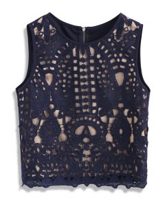 Profound Baroque Crochet Sleeveless Top in Navy