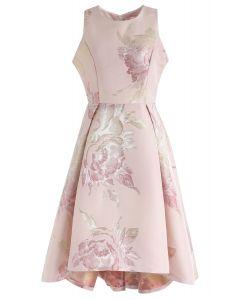 Pink Peony Romance Jacquard Waterfall Dress