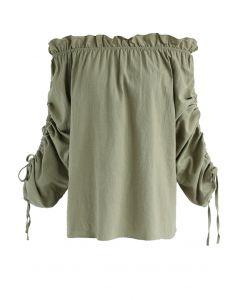 Appealing Form Ruffle Off-Shoulder Top in Khaki