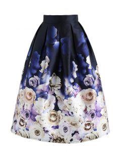 Rosey Lullaby Printed Midi Skirt in Navy