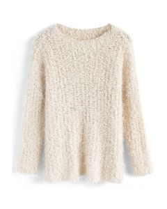 Joyous Daybreak Fluffy Sweater in Cream