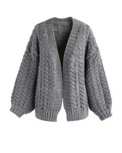 Nice to Knit You Chunky Cardigan in Grey