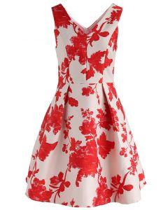 Fall in Flamboyance Jacquard Embossed Dress