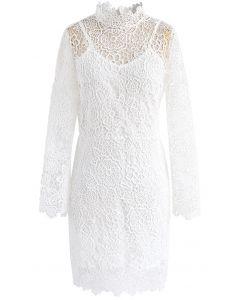 Fanciful Bloom Crochet Dress in White