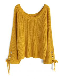 Leisure Moment Lace-Up Sleeves Ribbed Knit Sweater in Mustard