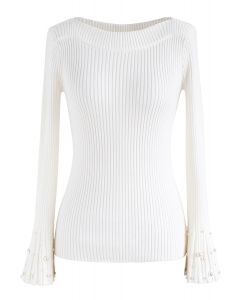Oh My Pearls Ribbed Bell Sleeves Sweater in White
