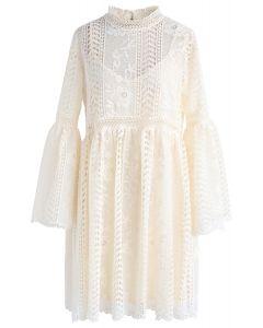 Endless Floral Romance Crochet Dress in Cream