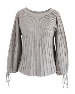 Sugary Puff Radiating Stripe Sweater in Grey
