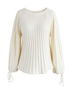 Sugary Puff Radiating Stripe Sweater in Ivory