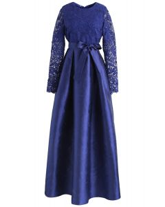 Magnificent Crochet Maxi Prom Dress in Blue