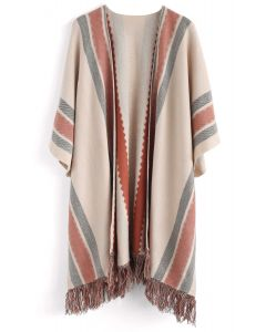 Stylish Folk Stripe Tassel Knitted Cape in Tan