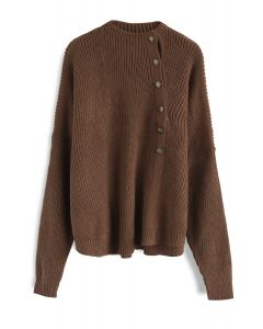 Button Up and Down Knit Sweater in Tan