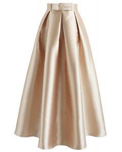 Luxurious Night Bowknot Pleated A-Line Skirt