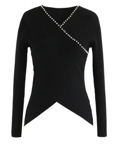 Pearls Lover Wrapped Knit Top in Black