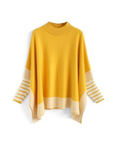Lie in Mustard Fields Striped Oversize Knit Cape Sweater