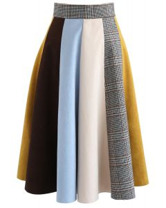 Polychrome Faux Suede Panelled A-Line Skirt in Mustard
