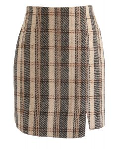 New Day Check Tweed Bud Skirt in Sand