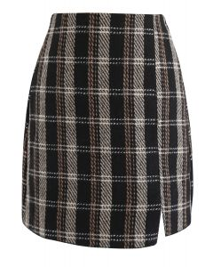 New Day Check Tweed Bud Skirt in Black