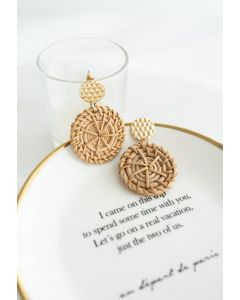 Circle Rattan Straw Earrings