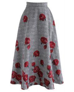 Fallen Roses Check Jacquard Maxi Skirt