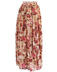 Paisley Revelry Velvet Mesh Maxi Skirt in Tan