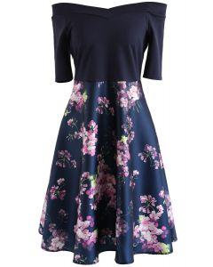 Serene Blossom Off-Shoulder Printed Dress in Navy