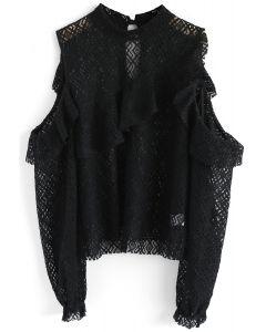 Intriguing Lace Cold-Shoulder Top in Black