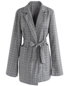 Absorbing Refinement Check Blazer in Grey