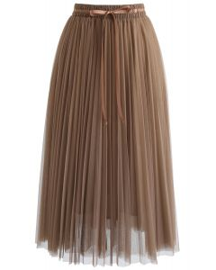 Brightness Layered Tulle Skirt in Brown