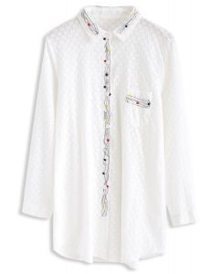 Intoxicating Star Vine Embroidered Cotton Shirt