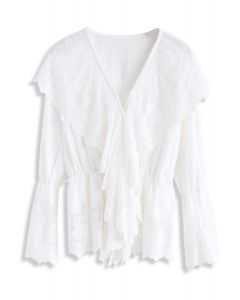 Flowing Artistry Lace Mesh Ruffle Top in White