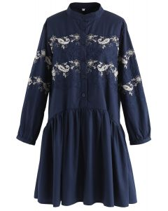Flower Vines Embroidered Dolly Dress with Beads Embellishment