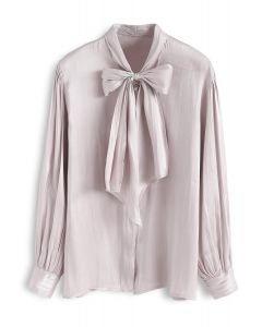 Jaunty Bowknot Silky Shirt in Lilac