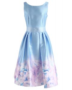 Flower Glamour Printed Dress in Blue