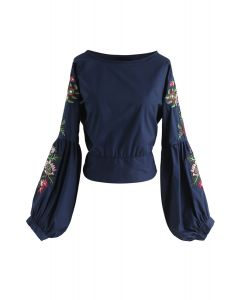 Morning Glory Blossoms Embroidered Top in Navy