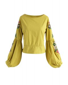 Morning Glory Blossoms Embroidered Top in Mustard