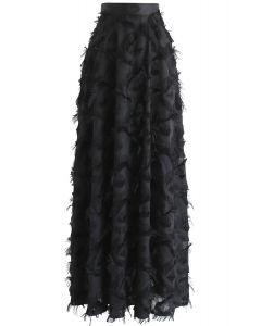 Dancing Feathers Tassel Maxi Skirt in Black