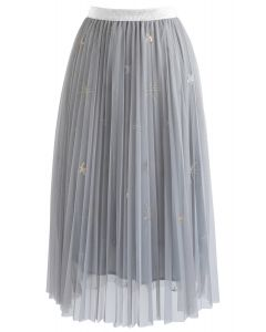 Starlight Myth Double Mesh Pleated Tulle Skirt in Grey