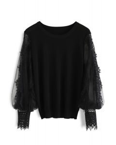 Romantic Sample Mesh Bubble Sleeves Sweater in Black