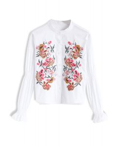 Splendor in Bloom Embroidered Top in White