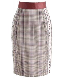 Fad Vanguard Crochet Check Pencil Skirt in Tan