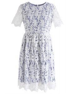When Flower Crochet Meets Blue Stripe Dress